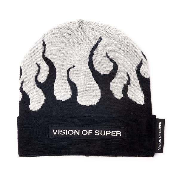 Cappello a cuffietta bicolore con fiamme                                                                                                              Vision Of Super VOSBEANIEFLWHITE retro