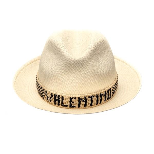 White fedora hat with embroidery                                                                                                                      Valentino garavani VW2HAA57 front