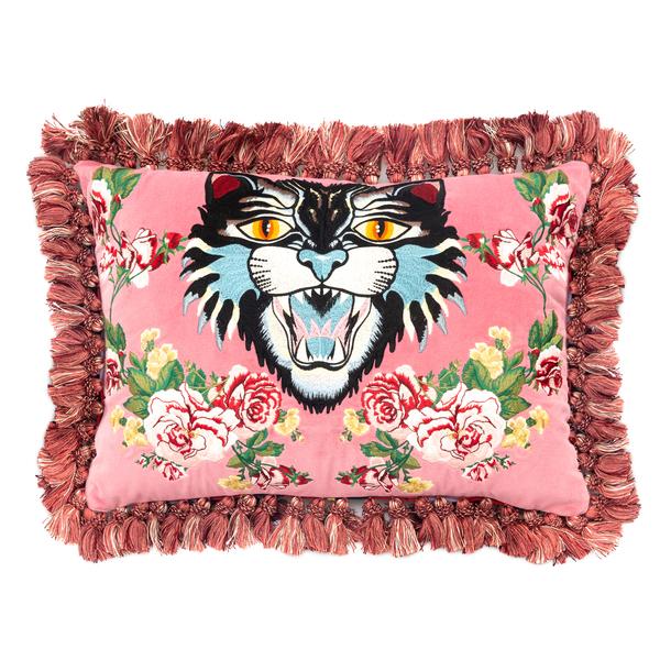 Cuscino Rosa Con ricamo floreale e Angry Cat                                                                                                          Gucci 482751 retro