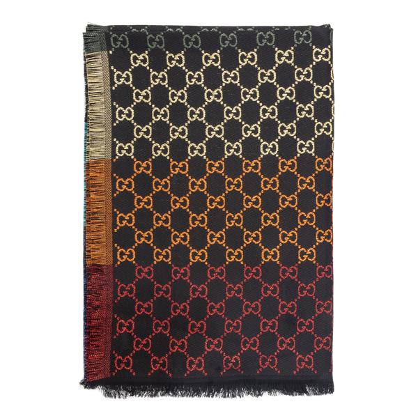 Sciarpa nera con pattern multicolore                                                                                                                  Gucci 558274 retro