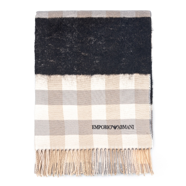 Check scarf in virgin wool                                                                                                                            Emporio Armani 635276 back