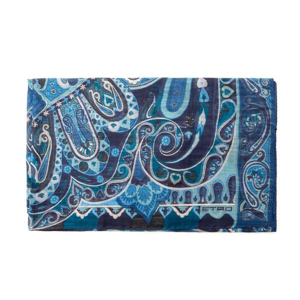 Sciarpa blu con stampa paisley                                                                                                                        Etro 10007 retro