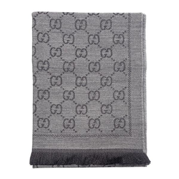 Sciarpa grigia con pattern logo                                                                                                                       Gucci 133483 retro