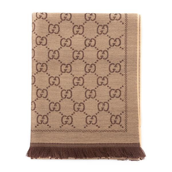 Sciarpa beige con pattern logo                                                                                                                        Gucci 133483 retro