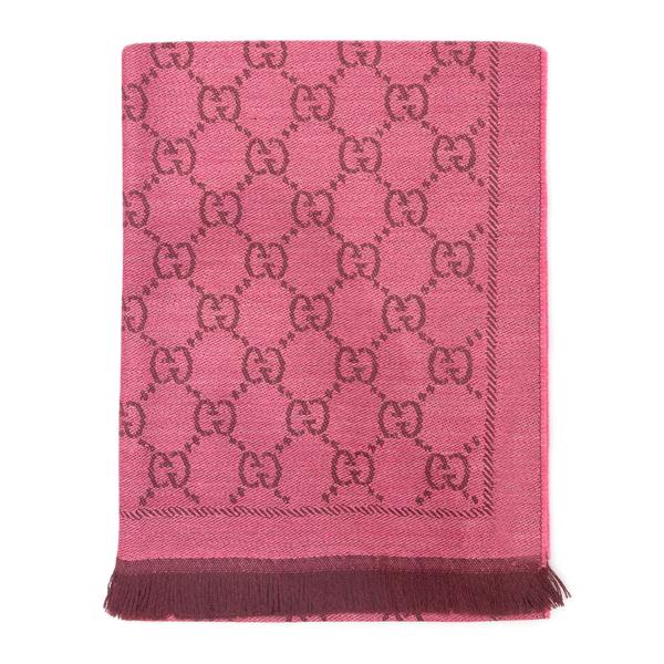 Sciarpa fucsia con pattern logo                                                                                                                       Gucci 133483 retro