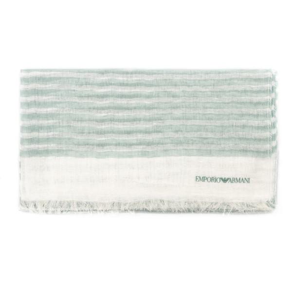 Foulard bianco e verde a righe                                                                                                                        Emporio Armani 635228 retro