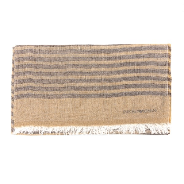 Striped sand and brown scarf                                                                                                                          Emporio Armani 635228 front