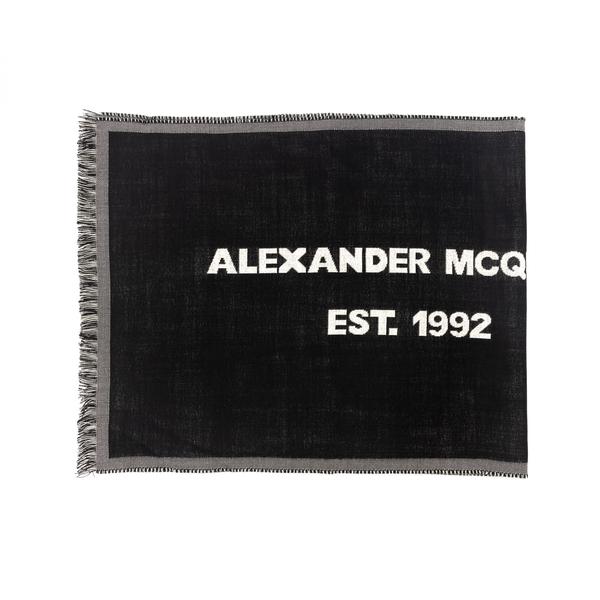 Sciarpa nera con nome brand                                                                                                                           Alexander Mcqueen 660921 retro
