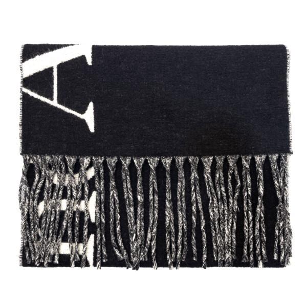 Sciarpa nera con nome brand e frange                                                                                                                  Alexander Mcqueen 675804 retro