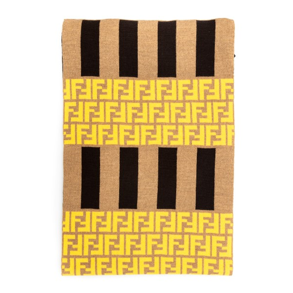 Beige striped scarf with logo pattern                                                                                                                 Fendi FXS124 front