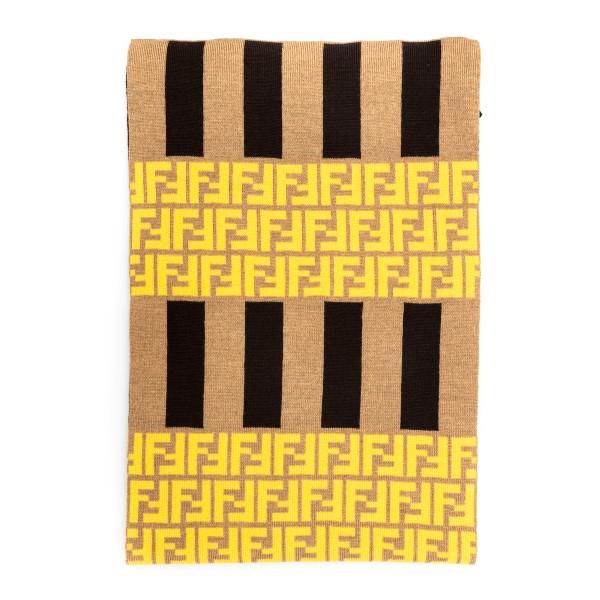 Sciarpa beige a righe con pattern logo                                                                                                                Fendi FXS124 retro