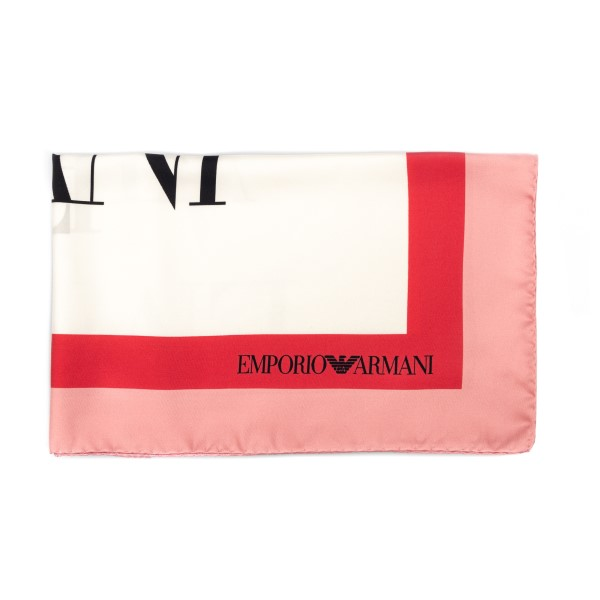 White foulard with pink edges and logo                                                                                                                Emporio Armani 635312 front