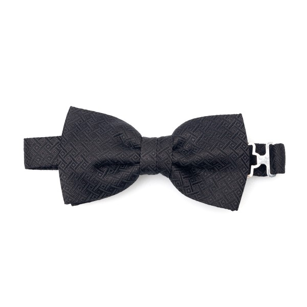 Black bow tie with geometric texture                                                                                                                  Lubiam 6513 back