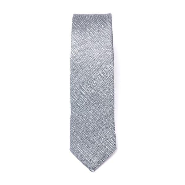 Silver tie with crossed texture                                                                                                                       Emporio Armani 340049 back