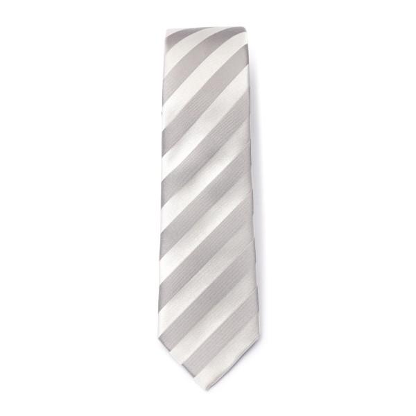 Cravatta bianca e grigia a righe                                                                                                                      Emporio Armani 340049 retro