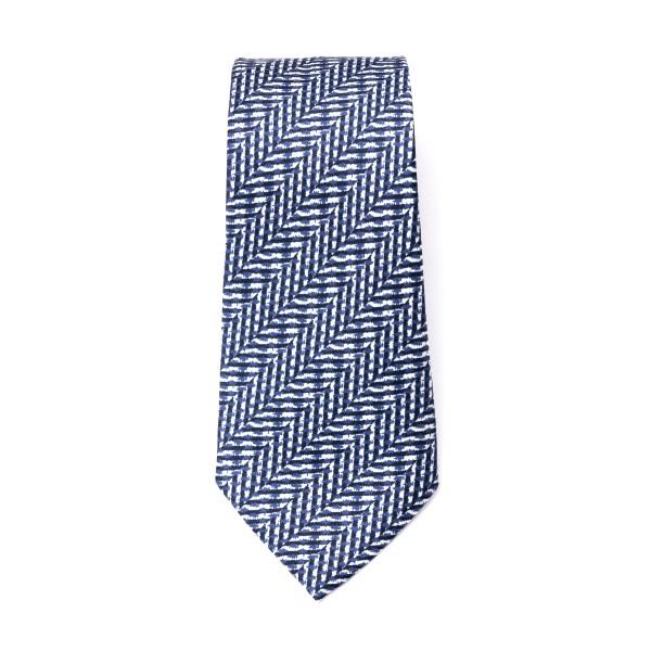 Cravatta blu e bianca a righe                                                                                                                         Emporio Armani 340075 retro