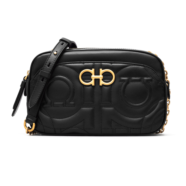 Black leather quilted crossbody bag with logo                                                                                                         Ferragamo 0720149 front