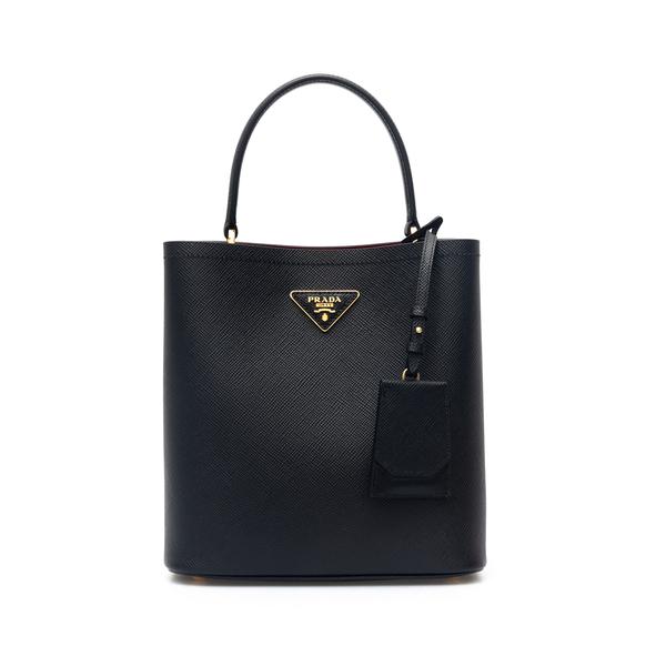 Black tote bag with leather tag                                                                                                                       Prada 1BA212 back