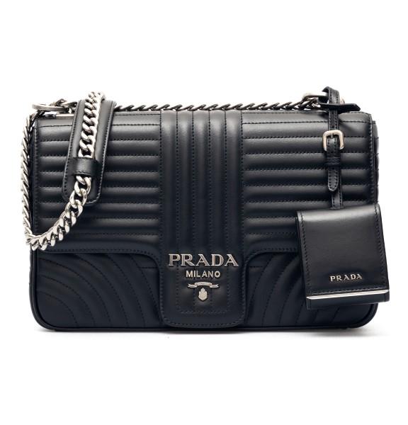 Black shoulder bag with mirror                                                                                                                        Prada 1BD135VCOX front
