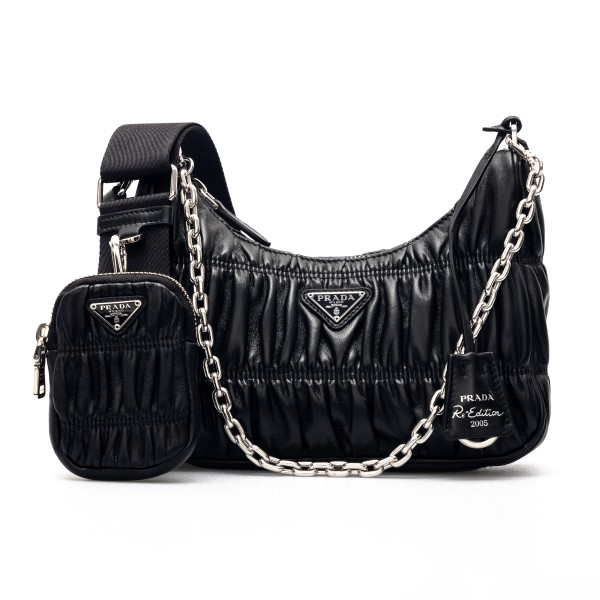 Black quilted shoulder bag with pouch                                                                                                                 Prada 1BH204 front