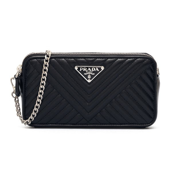 Black quilted clutch                                                                                                                                  Prada 1BP024VCZI front