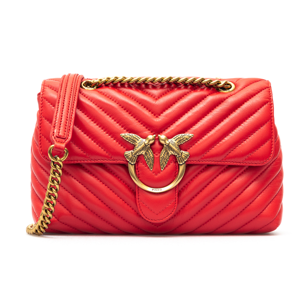 Red shoulder bag with chevron stitching                                                                                                               Pinko 1P2220 back