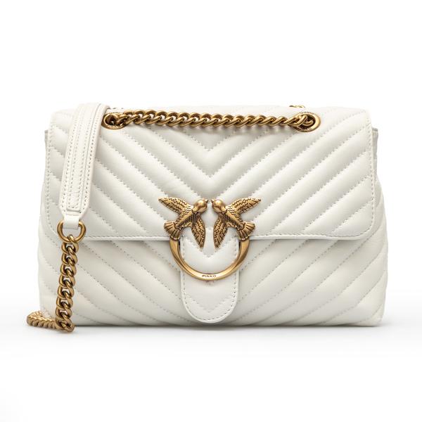 White shoulder bag with chevron stitching                                                                                                             Pinko 1P2220 back
