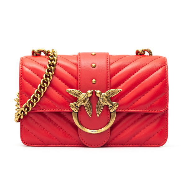 Red shoulder bag with gold logo plaque                                                                                                                Pinko 1P227L front