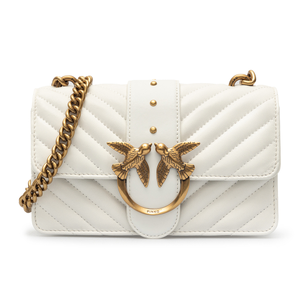 White shoulder bag with gold logo plaque                                                                                                              Pinko 1P227L front