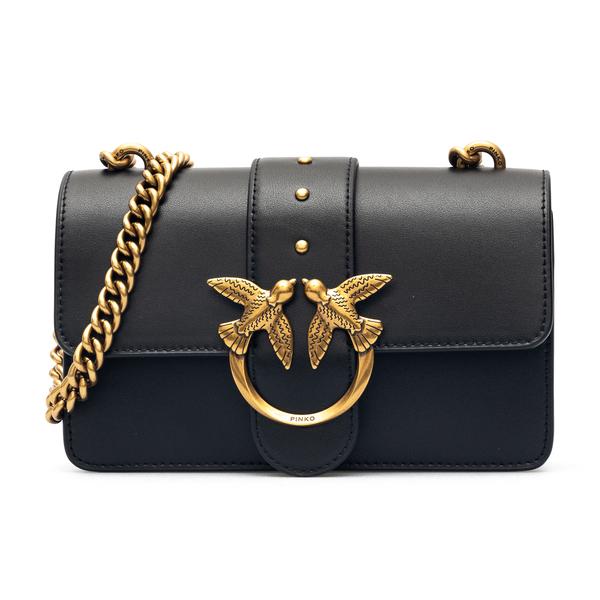 Black shoulder bag with gold logo plaque                                                                                                              Pinko 1P227M back