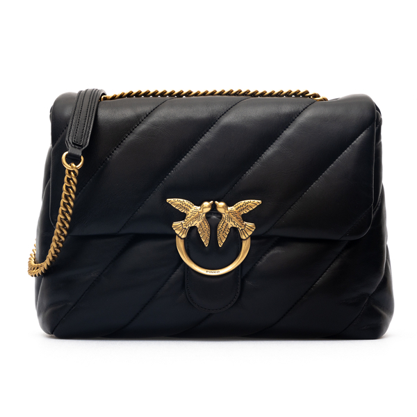 Black shoulder bag with oblique stitching                                                                                                             Pinko 1P22AW back