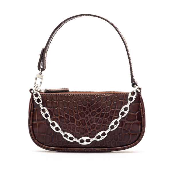 Brown shoulder bag with chain                                                                                                                         By Far 20CRMIRANEDSMA back