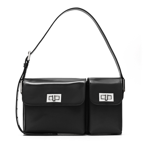 Black shoulder bag with double compartment                                                                                                            By Far 20SSBLYSBLWMED front