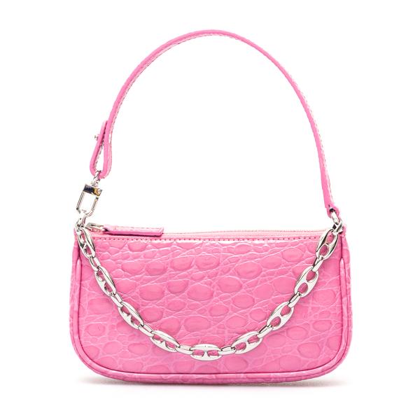 Borsa a spalla rosa in effetto coccodrillo                                                                                                            By Far 21PFMIRACYCCCESMA retro