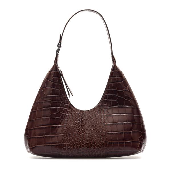 Brown crocodile effect shoulder bag                                                                                                                   By Far 21SSAMRSNEDLAR back
