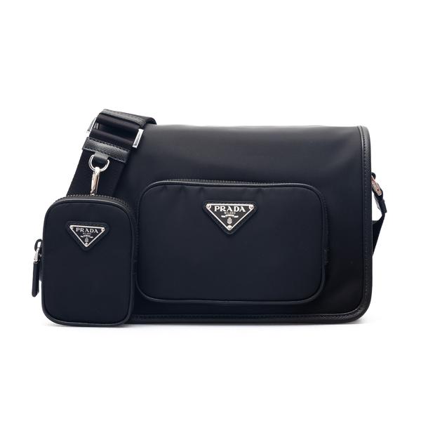 Black shoulder bag with pouch                                                                                                                         Prada 2VD041 back