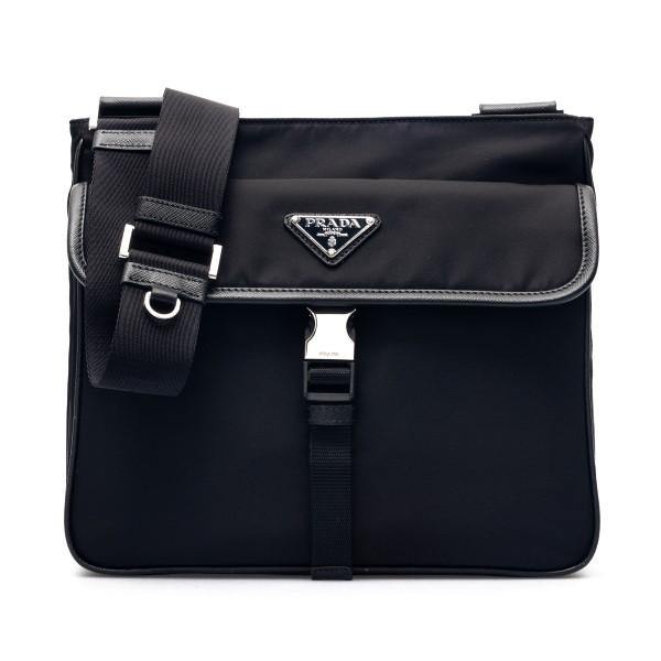 Borsa a spalla nera con logo                                                                                                                          Prada 2VH119 fronte