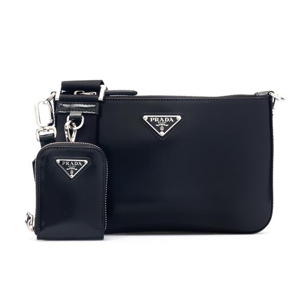 Borsa a spalla nera con pouch                                                                                                                         Prada 2VH129 retro