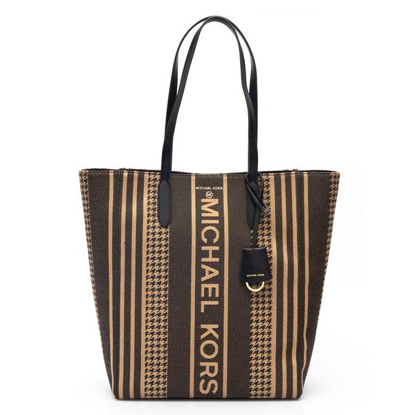 Striped brown tote bag                                                                                                                                Michael Kors 30F1G5ST9J back