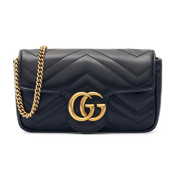 Borsa a tracolla nera con logo oro                                                                                                                    Gucci 443497 retro