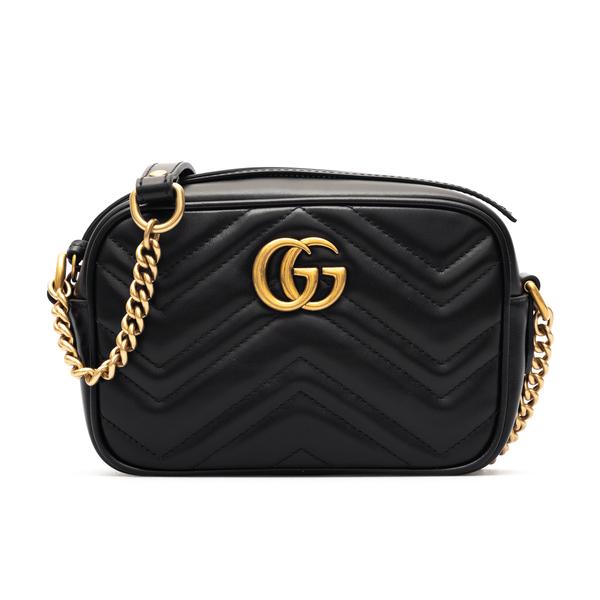 Borsa piccola a tracolla nera con logo oro                                                                                                            Gucci 448065 retro