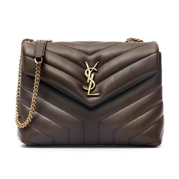 Brown quilted shoulder bag with logo                                                                                                                  Saint Laurent 494699 back