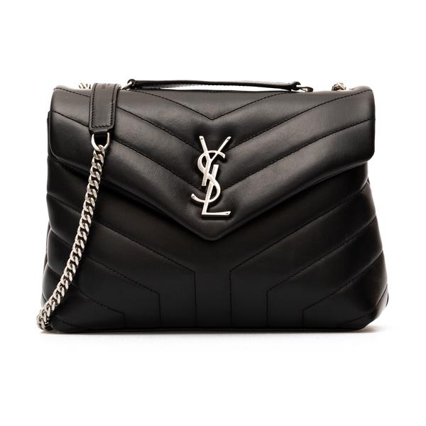 Black shoulder bag with silver monogram                                                                                                               Saint Laurent 494699 back