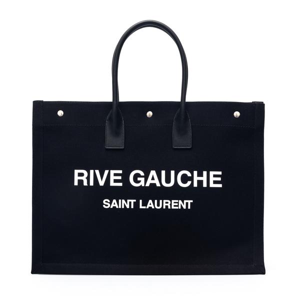 Black tote bag with brand name print                                                                                                                  Saint Laurent 499290 back