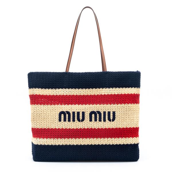 Striped woven tote bag                                                                                                                                Miu Miu 5BG228 back