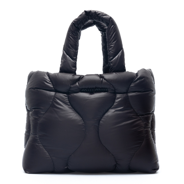 Black padded tote bag                                                                                                                                 Miu Miu 5BG240 back
