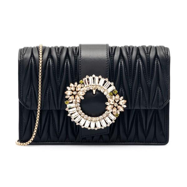 Black matelassé shoulder bag with crystals                                                                                                            Miu miu 5BH095VOJO front