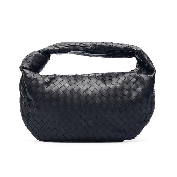 Soft black shoulder bag with weaves                                                                                                                   Bottega Veneta 600261 back