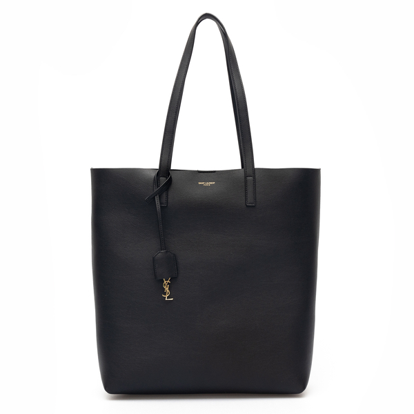 Black leather tote bag with key ring                                                                                                                  Saint Laurent 600306 back