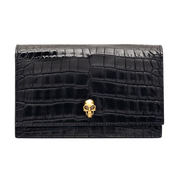 Black shoulder bag with gold skull                                                                                                                    Alexander Mcqueen 613088 back